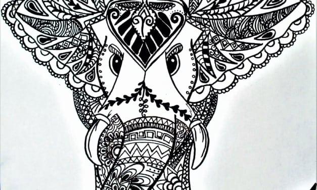 Antistresová omalovánka: slon