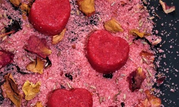 Valentýnské mýdlo a peeling v kostce