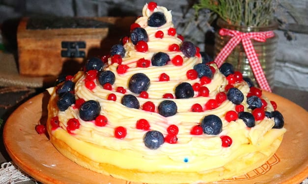 Pudingový dort s ovocem (obří žloutkový košíček)